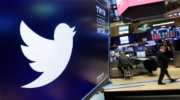 شعار تويتر في قاعة التداول ببورصة وول ستريت (أرشيف)
