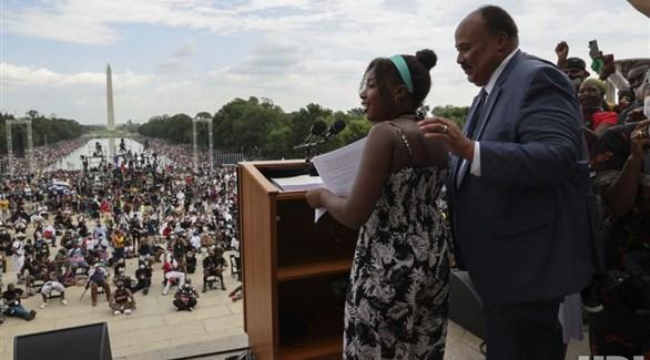 حفيدة مارتن لوثر كينغ  تلقي تلقي كلمة أمام حشد في مسيرة بواشنطن (تويتر)