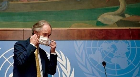 غير بيدرسن خلال مؤتمر صحافي على هامش اجتماعات اللجنة الدستورية السورية في جنيف (أرشيف)