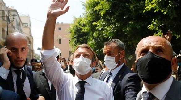 الرئيس الفرنسي إيمانويل ماكرون في بيروت (أرشيف)