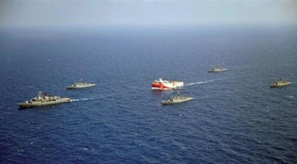 سفن حربية تركية في البحر المتوسط (أرشيف)