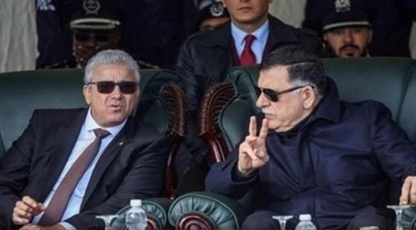 رئيس حكومة الوفاق الليبية فائز السراج ووزير داخليته الموقوف فتحي باشاغا (أرشيف)
