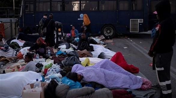 مهاجرون بلا مأوى في مخيم موريا (أرشيف)