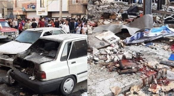 صورتان للدمار الذي خلفه انفجار مصنع البطاريات في طهران (تويتر)