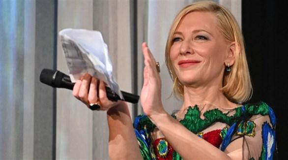 الممثلة الأسترالية كايت بلانشيت في اختتام مهرجان البندقية السينمائي السبت (إيو دونا)