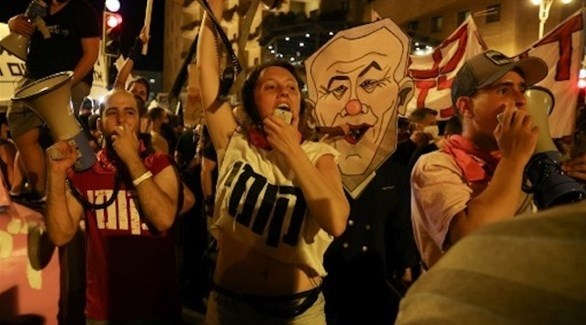 متظاهرون ضد بنيامين نتانياهو في القدس (أ ف ب)