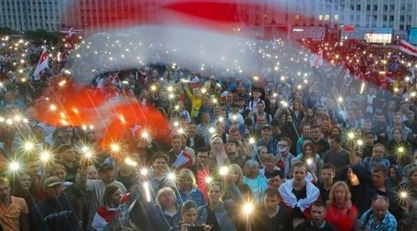 جموع من المتظاهرين في وسط العاصمة ميسنك (أرشيف / أب )