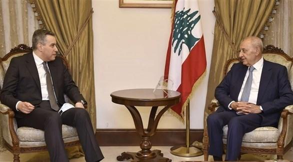 نبيه بري في لقاء مع مصطفى أديب (أرشيف)