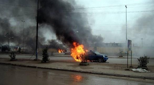 انفجار سابق لعبوة ناسفة في سيارة للشرطة بالموصل (أرشيف)
