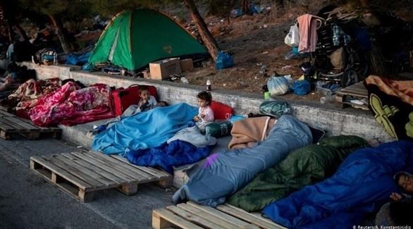 أطفال في مخيم موريا للاجئين في ليسبوس اليونانية (أرشيف)
