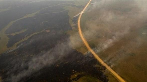 صورة جوية تظهر حجم الدمار الذي لحق بمنطقة بانتانال بسبب الحرائق (أ ف ب)