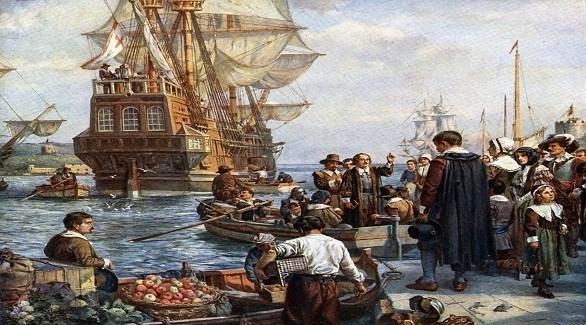 السفينة ماي فلاور تستعد لنقل المستعمرين الأوروبيين إلى أمريكا (بريطانيكا)