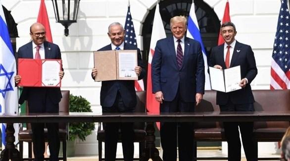 رؤساء الوفود بعد مراسم توقيع الاتفاق الابراهيمي في البيت الأبيض (أرشيف)