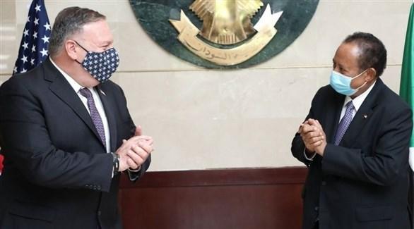 رئيس الوزراء السوداني عبد الله حمدوك ووزير الخارجية الأمريكي مايك بومبيو (أرشيف)