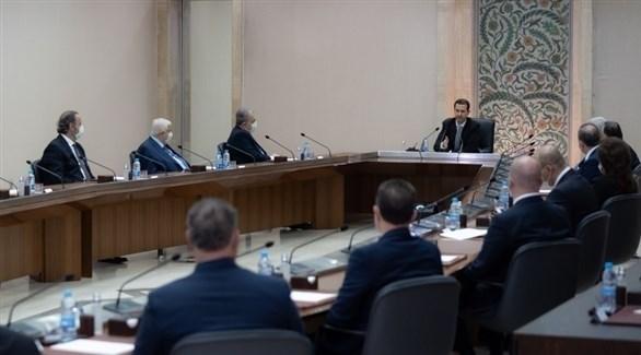 الرئيس السوري بشار الأسد خلال كلمته عقب أداء الحكومة اليمين (تويتر)
