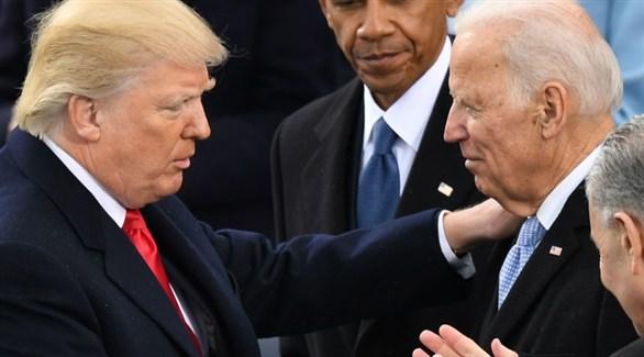 الرئيس دونالد ترامب والمرشح الديمقراطي جو بايدن والرئيس السابق باراك أوباما (أرشيف)