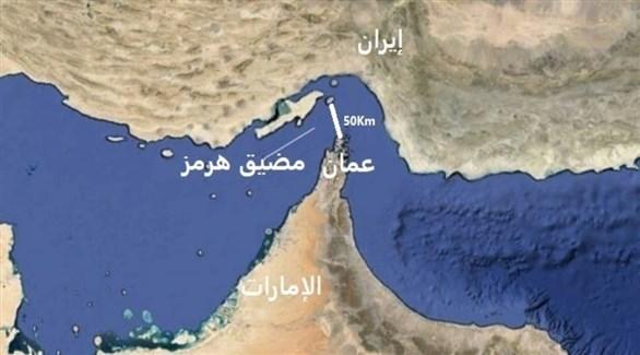 خريطة توضح موقع مضيق هرمز (أرشيف)
