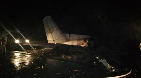 من مكان تحطم الطائرة العسكرية في أوكرانيا (تويتر)