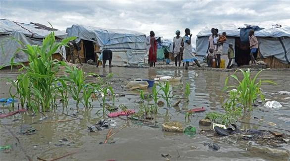 مخيم لاجئين في جنوب السودان أغرقته السيول (أرشيف)