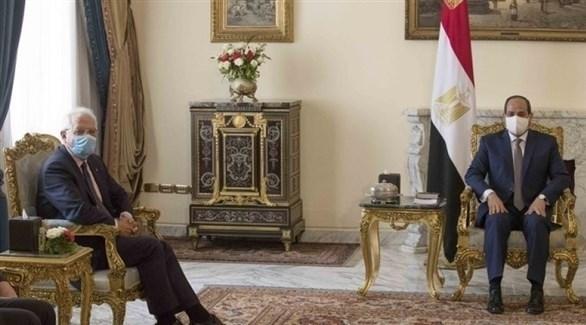عبد الفتاح السيسي وجوزيب بوريل (وسائل الإعلام الليبية)