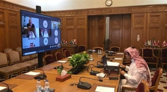 جانب من اجتماع اللجنة الوزارية العربية الرباعية (الجامعة العربية)