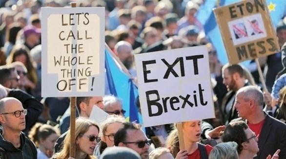 مظاهرات مؤيدة للبريكست في بريطانيا (أرشيف)