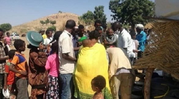 لاجئون أثيوبيون في مركز حمدايت الحدودي في كسلا السودانية (سودان تربيون)