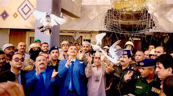 جانب من احتفالية تدشين المطار في عدن (تويتر)