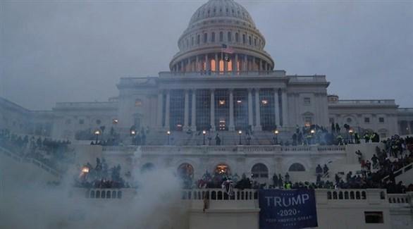 تظاهرات مؤيدي الرئيس الأمريكي الحالي دونالد ترامب أمام الكونجرس (أرشيف)