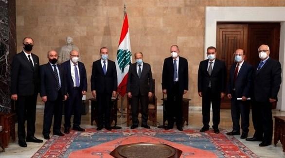 الرئيس اللبناني ميشال عون وأعضاء المجلس الدستوري (الوكالة الوطنية للإعلام)
