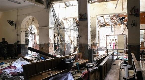 آثار الدمار بأحد الكنائس في سريلانكا (أرشيف)