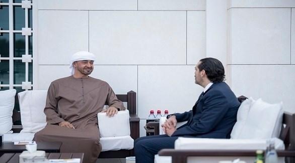 الشيخ محمد بن زايد ورئيس الوزراء اللبناني المكلف سعد الحريري (وام)