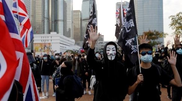 متظاهرون في هونغ كونغ يرفعون الأعلام البريطانية (أرشيف)