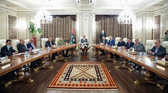جانب من اجتماع الحكومة الليبية الجديدة برئاسة عبدالحميد الدبيبة