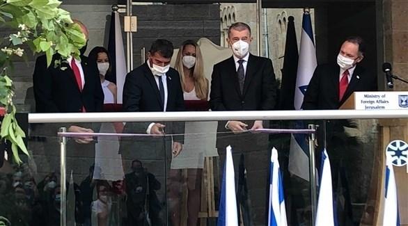 رئيس الوزراء التشيكي في حفل افتتاح مكتب القدس للسفارة التشيكية في إسرائيل (تويتر)