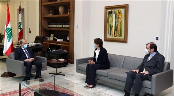 الرئيس اللبناني يلتقي السفيرة الفرنسية (فيسبوك)