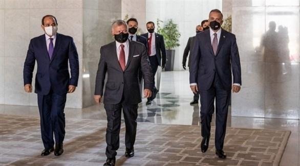 رئيس الوزراء العراقي مصطفى الكاظمي والعاهل الأردني الملك عبدالله والرئيس المصري عبدالفتاح السيسي (أرشيف)