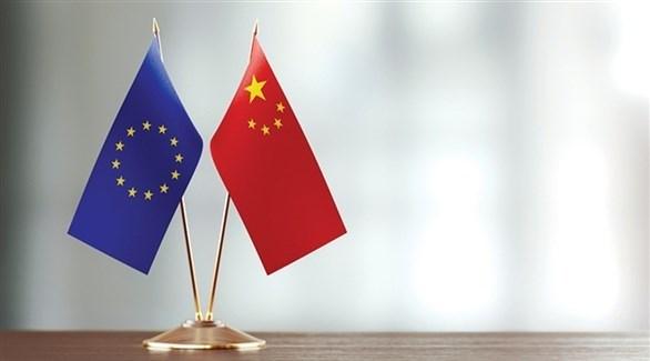 العلم الصيني وراية الاتحاد الأوروبي (أرشيف)