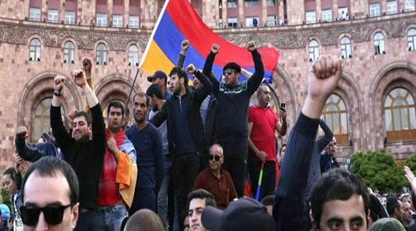 متظاهرون في أرمينيا ضد رئيس الوزراء (أرشيف)