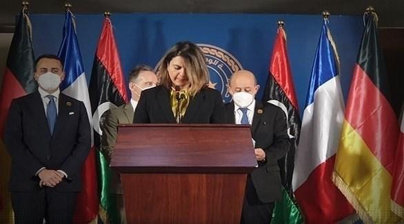 وزيرة الخارجية الليبية نجلاء المنقوش في المؤتمر الصحافي المشترك اليوم في طرابلس (تويتر)