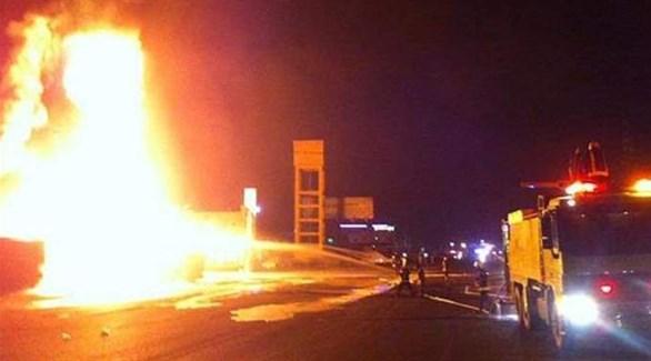 حريق سابق في محطة نفطية بالسعودية (أرشيف)