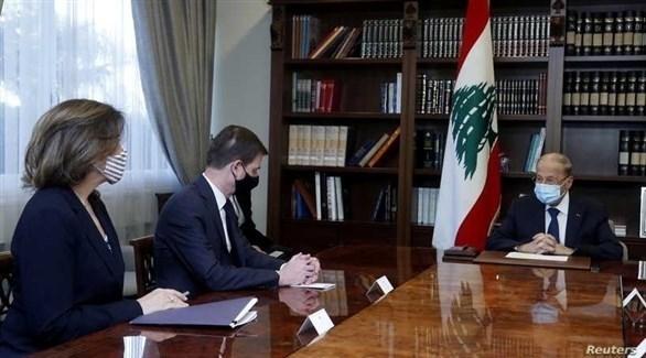 المبعوث الأمريكي والسفيرة الأمريكية يلتقيان الرئيس اللبناني (تويتر)