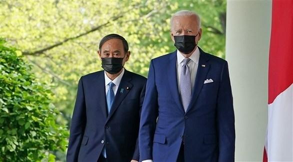 الرئيس الأمريكي جو بايدن ورئيس الوزراء الياباني سوغا عقب اجتماع مشترك بشأن الصين (أرشيف)