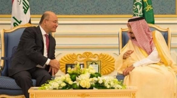 العاهل السعودي الملك سلمان والرئيس العراقي برهم صالح (أرشيف)