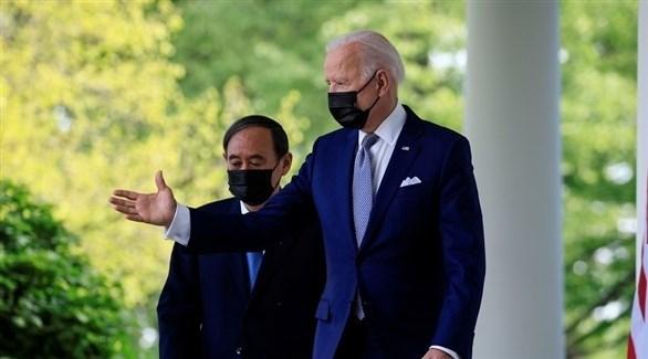الرئيس الأمريكي جو بايدن رئيس الوزراء الياباني يوشيهيدي سوجا (وكالات)