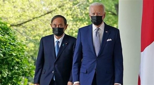 الرئيس الأمريكي بايدن ورئيس الوزراء الياباني سوغا (أرشيف)
