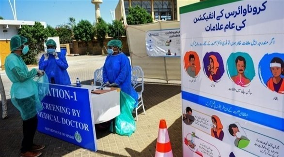 مركز طبي لإجراء فحوصات كورونا في باكستان (أرشيف)