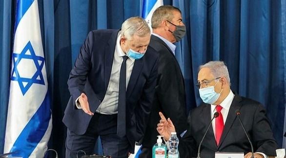 رئيس الوزراء الإسرائيلي بنيامين نتانياهو  ووزير الدفاع والقضاء بيني غانتس (أرشيف)