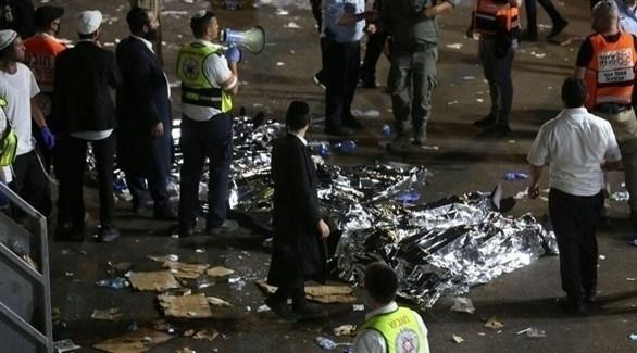 جانب من ضحايا التدافع في إسرائيل (غيتي)