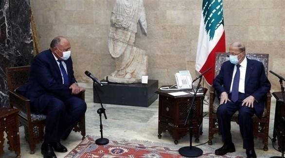 الرئيس اللبناني ميشال عون خلال لقائه مع وزير خارجية مصر سامح شكري